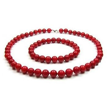 Orange Red Coral Color Ball Bead Necklace Stretch Bracelet Set Silver