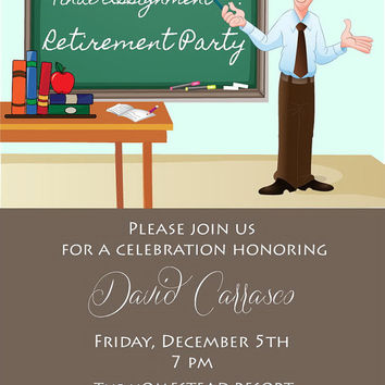 Male Teacher Retirement Invitation • Retirement Party Invite • Digital File