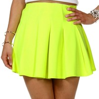 Sale-neon Yellow Pleated Skirt
