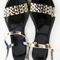 Road To Gold Metallic Jelly Flat Sandals