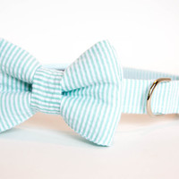 Seersucker Dog Bow Tie Collar - Your Choice of Color