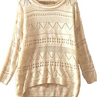 Sheinside Beige Geometric Eyelet Embellished Knit Jumper Sweater (One-Size, Beige)