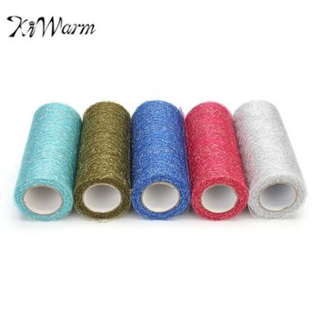 KiWarm 15cm 10yard Silver Thread Yarn Fabric Mesh Net Cloth Tulle Roll Flower Gauze DIY Tutu Skirt Hair Bowknot Wedding Decor
