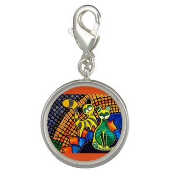 Cheer Up My Friend Colorful Rainbow Cat Design Charm