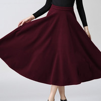 Red High-Waist Midi Skirt