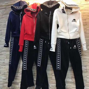"""Kappa""Women Casual Fashion Letter Printing Long Sleeve Hoodie Trousers Set Two-Piece Sportswear"