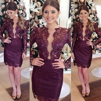 Elegant Purple Short Prom Dress O Neck Long Sleeves Above Knee Beautiful Lace Cocktail Party Dresses