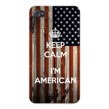 Apple Iphone Custom Case 4 4s Snap on - 'Keep Calm I'm American' w/ USA American National Flag Wood Grain Background