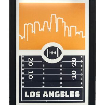 """Los Angeles Chargers Football 8 Bit Retro Art Print / Poster Chargers Team Colors - 13x19"""""""
