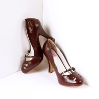 Dark Brown Pleather Cut Out Strap Smitten Mary Jane Heels