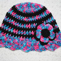 $13 Candy Pink and Black Sun Hat with 3D Flower- summer baby, baby hat, Spring hat, photo prop, baby shower gift