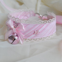 Cotton candy - fairy kei kawaii cute neko lolita kitten pet play collar with bell and lace - pastel pink