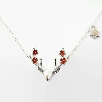 Sterling Silver Deer Floral Necklace