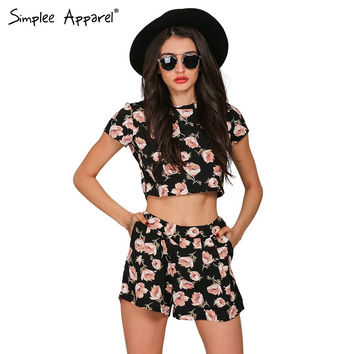Boho floral print women jumpsuit romper Summer 2016 casual short playsuit Girls elegant two piece sexy ovaralls