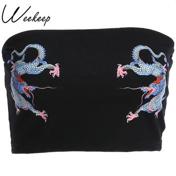 Weekeep Sexy Slim Waist Tube Tops Women Black Chinese Style Dragon Print Fashion Summer Top Cropped Strapless Wrap Top Top