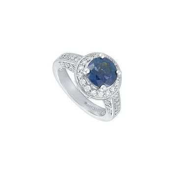 Blue Sapphire and Diamond Engagement Ring : Platinum - 4.00 CT TGW