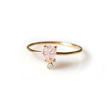 14kt gold Pink Morganite & Diamond Pear Ring