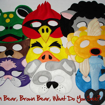 Brown Bear, Brown Bear, What Do You See? Set of 9 Children's Animal Felt Masks Combo