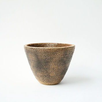 Ceramic Tea Light in Smokey Yellow Ochre - Highly Textured Pierced Clay Form - Contemporary Home Decor