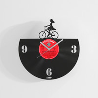 Bicycle Girl wall clock from upcycled vinyl record (LP) | Hand-made gift for music lover | Unique, original home wall decoration, present