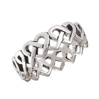 .925 Sterling Silver Continuous Celtic Heart Knot Toe Ring, Size 1.5