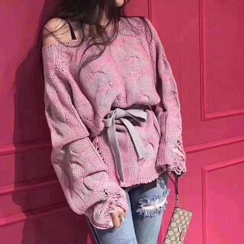 VONEB7T Knit Ripped Holes Long Sleeve Mixed-color Sweater