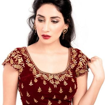 Elegant Maroon Velvet Ready-made Indian Saree Blouse - KP-46