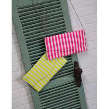 Calling Cozumel Neon Striped Clutch
