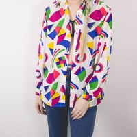 Vintage Abstract Retro Button Up Blouse