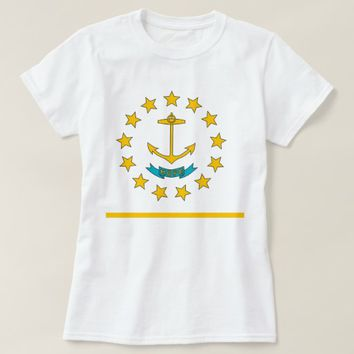 Women T Shirt with Flag of Rhode Island State