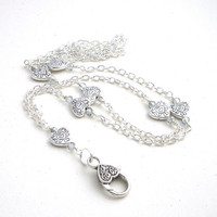 Simple Silver Heart Chain ID Badge Lanyard, Crystals Heart Clasp