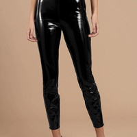 Roxy High Waisted Faux Patent Leather Leggings