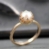 14k Gold Pearl Ring -  Pearl Engagement  Ring