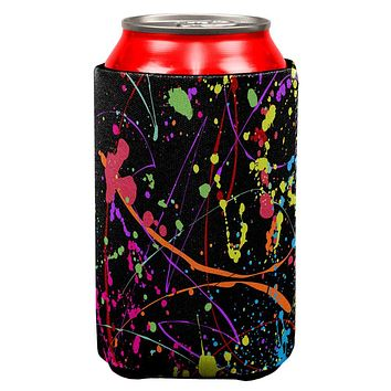 Splatter Paint Black All Over Can Cooler
