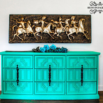 SOLD Handpainted Nine Drawer Dresser Hollywood Regency Turquoise Green Black Harlequin Stenciled Drawers Bohemian Gothic Eclectic Furniture