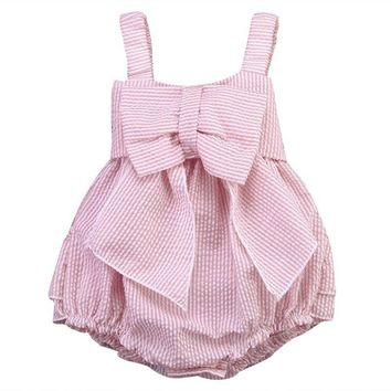 High Quality 0-24M Summer Newborn Cute Striped Bubble yarn Pink Baby Dress girl party dress newborn baby girl dresses