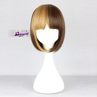Lolita Short Blonde Mixed Brown Straight Stylish Women Girl Cosplay Hair Wig