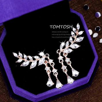 TOMTOSH 2017 Fashion Women's Angel Wings Stud Earrings Rhinestone Inlaid Alloy Ear Jewelry Party Earring Gothic Feather Brincos