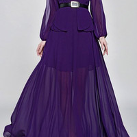 Purple Long Sleeve Chiffon Maxi Dress