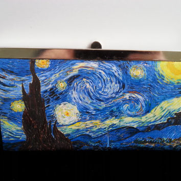 Starry Night Wallet Vincent Van Gogh Wallet Decoupage Wallet Fine Art Wallet Painting Wallet Stars Wallet Blue Wallet