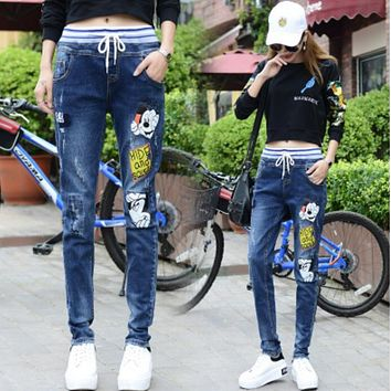 Jeans Women Mickey Mouse Printing With High Waist Jeans For Girls Stretching Skinny jeans elastic waist Large Size