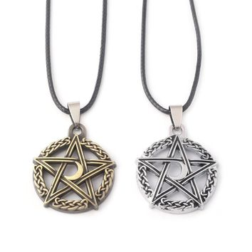 SG New Silver Bronze Supernatural Moon Pentagram Necklaces Pendants Norse Viking Tree of Life Necklace Women Men Choker Jewelry