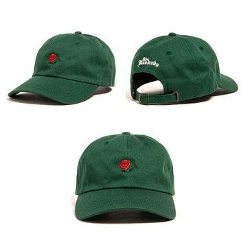 Day-First™ Unisex Green The Hundreds Rose Strap Cap Adjustable Golf Snapback Baseball Hat