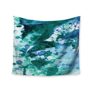 "Ebi Emporium ""Color Blots 5"" Green Blue Painting Wall Tapestry"