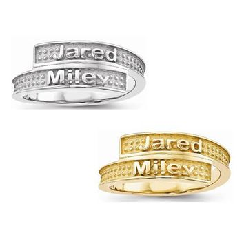 Sandblast Background Ring w/ Two Names