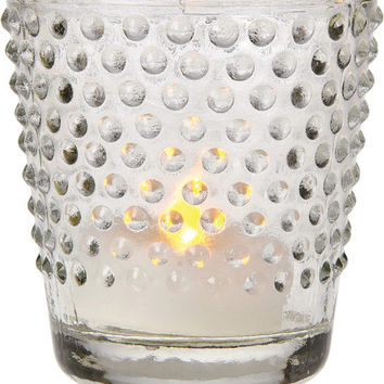 Vintage Glass Candle Holder (hobnail design) - Clear