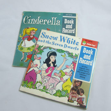Vintage See & Hear Books with 45 Records Snow White and Cinderella