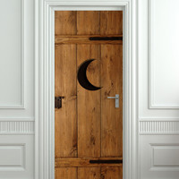 """Door STICKER, Wall of Fridge vinyl STICKER outhouse wood toilet moon mural decole film self-adhesive poster 30x79""""(77x200 cm)"""