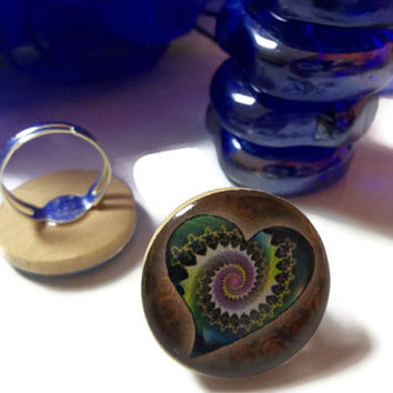 Heart Adjustable Ring Psychedelic Chakra Ring Graphic Art Resin Reiki Charged Jewelry For Mind Body Soul
