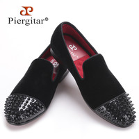 new arrival men black velvet shoes with black Patent leather toe rivets Prom and Party men dress shoes male's loafers